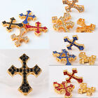 Gold Plated 4 Color(Mix Colour)Crystal Short Cross Pendant Fit Bracelet