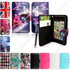 For Apple Ipod Touch 4 4th Gen Book Side Card Holder Leather Flip Case + Stylus