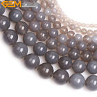 Natural Stone Genuine Grey Agate Onyx Gemstone Beads For Jewelry Making 15""