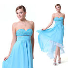 Strapless High Low Blue Chiffon Quinceanera Dresses Evening Party Dress 06092