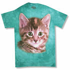 "THE MOUNTAIN ""KITTEN AQUA"" TIE DYE T-SHIRT NEW OFFICIAL ADULT ANIMAL CAT KITTY"