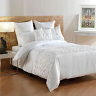 3 Pce - MIRANDA White Ruched COTTON SATEEN Quilt Cover Set  - QUEEN KING