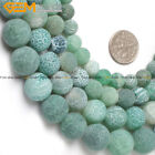 """Round Frost Green Agate Beads Jewelry Making Gemstone Strand 15"""" Size Pick"""