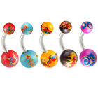 Belly button piercing ball navel bars button rings steel jewellery 2PCs 9KAF