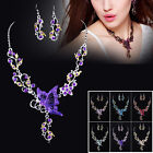 Hot Butterfy Crystal Necklace Earrings Set Women Jewellery Gifts Wedding Bridal
