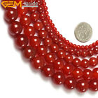 "Round Red Agate Beads Jewelry Making Gemstone Strand 15"" Various Sizes"