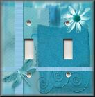 Light Switch Plate Cover - Dragonfly With Flower - Blue - Insect Home Decor
