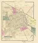 Old City Map - Santa Clara California Landowner - Thompson 1866 - 23 x 26.14