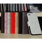 1pc New Lightening Like PU Leather Case Flip ID Card Cover For Apple Iphone 4 4S