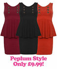 Winter Peplum Dress Button Detail in Black Wine and Rust Ladies New