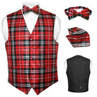 Men's Plaid Design Dress Vest BOWTie Black Red White BOW Tie Set for Suit Tux