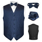 Men's Navy Blue Paisley Design Dress Vest and BOWTie Set for Suit or Tuxedo