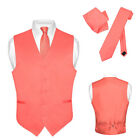Men's Dress Vest NeckTie CORAL PINK Neck Tie Set for Suit or Tuxedo