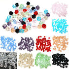 100 x 4MM FACETED BICONE CRYSTAL GLASS SPACER BEADS - CHOOSE COLOUR - JEWELLERY