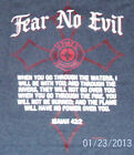 New Gray amheroes original Fear No Evil Isaiah 43:2 quote  Firefighter T-Shirt