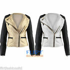 Womens Biker Jacket Rihanna Miley Cyrus Faux Leather Silver Gold Contrast Coat