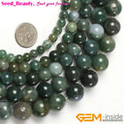 "Beautiful Round Smooth Moss Agate Gem Jewelry Making Beads Strand 15"" Size Pick"