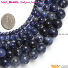 Jewelry Making Fashion round blue smooth sodalite gemstone beads strand 15""