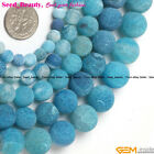 Jewelry Making Fashion round frost blue agate gemstone Loose beads strand 15""