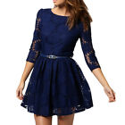 KDQ1 Crew Neck Sun Flowers Lace Silm Long Sleeve Dress WF-5182