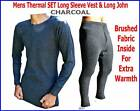 Mens Orignal Thermal underwear SET Long Sleeves Vest & Long John Charcoal Warm