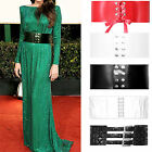 NEW LADIES WIDE LEATHER LOOK STUDDED BELT WOMENS COOLEST CINCH CLASP WASPIE BELT