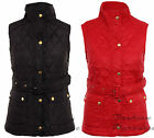 WOMENS LADIES QUILTED PADDED BELTED SLEEVELESS JACKET GILET BODYWARMER VEST 8-14