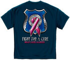 Blue T-Shirt with Fight for a Cure Pink Ribbon Police Law Enforcement  Design