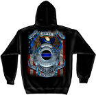 Black Hooded Sweatshirt with Eagle Badge & Flag  Fallen Officers Police  Design