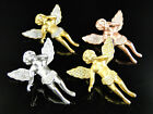 Sterling Silver Rose White or Yellow Gold Finish Angel Simulated Diamond Pendant