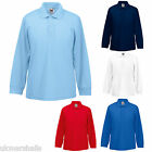BULK BUYER Fruit of the Loom Childrens Long Sleeve Polo Shirt  5 Colours School