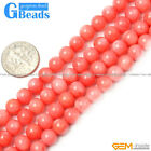 "Pink Coral Gemstone Round Beads For Jewelry Making Free Shipping 15"" 4mm 5mm 6mm"