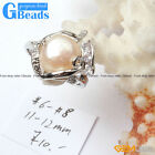 11-12mm POPULAR pearl white gold plated ring US size #6 - #8 ,send by random.