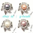 10-11mm freshwater pearl white gold plate flower shape pendant fashion jewelry