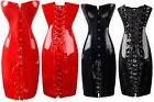 F70 Sexy Lingerie Black PVC or Faux Leather Corset Dress Gothic Clubwear 8-14