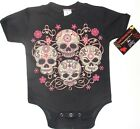 NWT BLACK 4 SKULLS WITH PERSONALITIES DAY OF THE DEAD