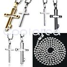 Pair Couple Hollow Cross Pendant Stainless Steel Chain Necklace For Lover Gift