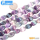 """Natural Stone Rainbow Fluorite Oval Beads For Jewelry Making Free Shipping 15"""""""