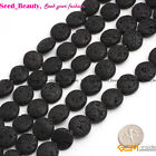 jewelry making natural coin black gemstone lava rock beads strand 15""