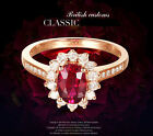 Natural Red Ruby Ring with Diamonds in 18K White Gold Engagement Promise Wedding