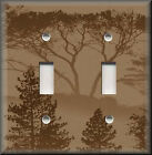 Light Switch Plate Cover - Silhouette Forest Trees - Tan - Rustic Home Decor