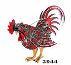 Fashion Hot Cock Brooch Pin Rhinestone Ancient Silver Plated Rooster 4Colors