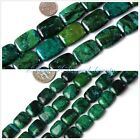 jewelry making Rectangle flat green dyed chrysocolla  loose beads strand 15""
