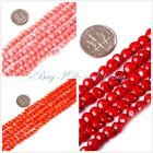 jewelry making 6mm coin red pink orange natura coral  gemstone beads strand 15""