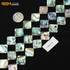 Natural Genuine Flat Square Abalone Shell Beads For Jewelry Making Strand 15""