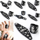 Men's Punk Gothic Skull Cross Rivet Stud Black Cowhide Leather Finger Rings Hot