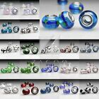 5/10pcs Large Hole Round Lampwork Glass Charm Bracelet Beads European Styles HOT