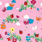 SOFT COZY COTTON FLANNEL FABRIC BUGS LADYBUG BUTTERFLY BABY BLANKET CLOTHES 41'W