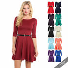 Womens flared franki belted 3 4 sleeve top party pleated retro skirt party dress