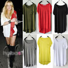 Celeb Style Slouchy Soft Uneven Hem Loose Long Top Blouse Tee Shirt T089